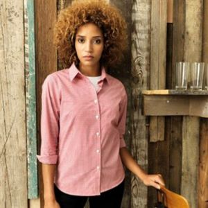 Women's Microcheck (Gingham) long sleeve cotton shirt Thumbnail