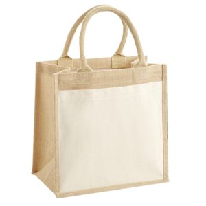 Cotton pocket jute midi tote Thumbnail